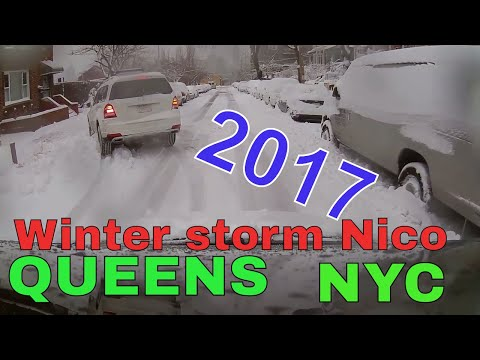 Driving Downtown - WINTER STORM NICO 2017 - Queens - New York City USA