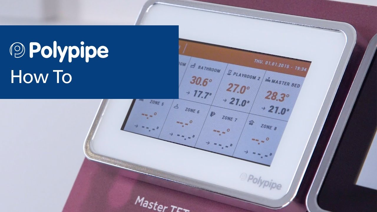 Polypipe Underfloor Heating Controls Master TFT Thermostat YouTube