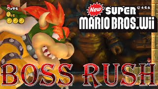 New Super Mario Bros. Wii - Boss Rush (All Boss Fights, No Damage)