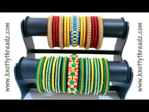 Silk Thread Jewelry | Colourful Bangle Set |Festive Collection |Kada Bangles | www.knottythreadz.com