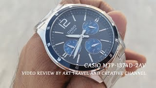 Casio MTP-1374D-2AV Chronograph Wrist Watch Blue and Black Dial Video Review