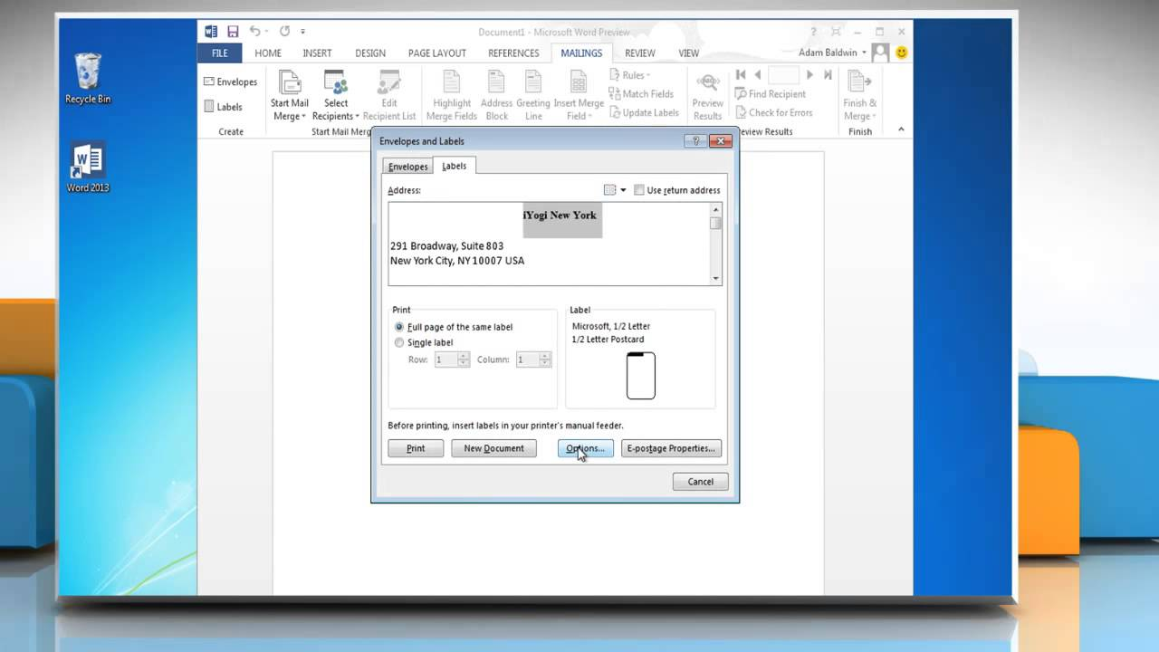 How to Create and print mailing labels on Microsoft® Word 2013 - YouTube