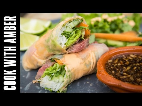 Steak Spring Rolls with Sriracha Mayo and Dipping Sauce feat. The Food Busker | Cook With Amber