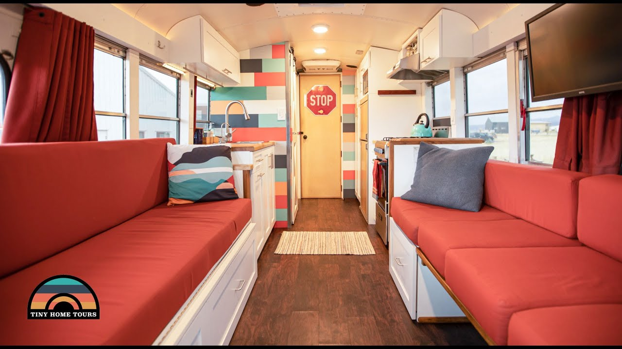 DIY School Bus Conversion W/ Clever Murphy Bed & Mobile Income Studio