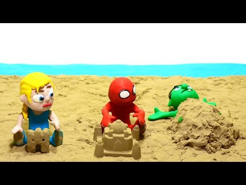 Superheroes playing in the sand beach Play Doh Stop motion cartoons