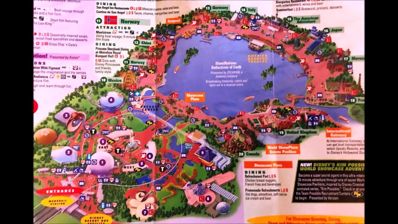 Walt Disney World - EPCOT Maps Over the Year Part II - YouTube on