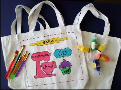C mo decorar una bolsa tote bag con pintura de tela - Dibujos para pintar en tela infantiles ...