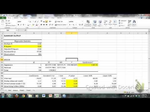 Multiple Regression Interpretation In Excel