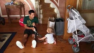 Novak Djokovic playing with his adorable son Stefan!