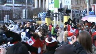 Furries On Robson Street During The Vancouver 2010 Olympic Winter Games
