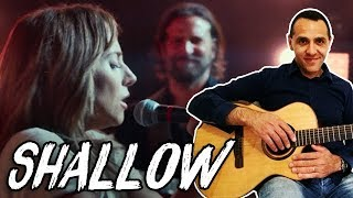 Shallow Guitar Tutorial - Lady Gaga Bradley Cooper Guitar Lesson -  A Star is Born