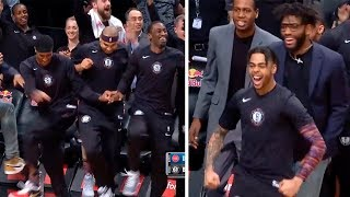 Nets' bench go crazy & shows everyone why they are the most dancing NBA team!