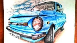 ЗАЗ 968М (Рисунок карандашами.)