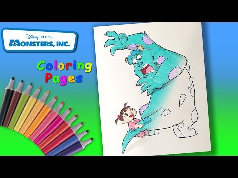 Walt Disney Monsters Inc. Coloring for Kids. Coloring page Sulley and Boo