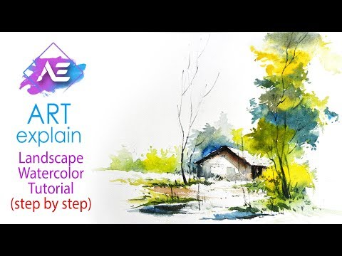 Green Landscape Watercolor Painting tutorial | How to paint a watercolor landscape | Art Explain