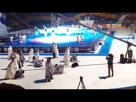 Kazakh Traditional Dance and culture | Almaty Arena wrestling match begining |