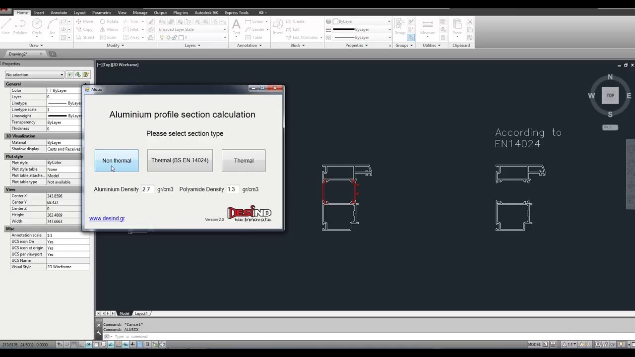 Autocad section properties (Alusix-v2)