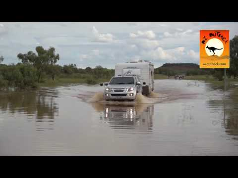 RV & Caravans in floodwater after road opens in Northern Australia