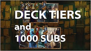Gwent: The Witcher Card Game - Deck Tiers and 1000 Subscribers