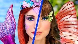 Makeup Challenge! 8 DIY Mermaid Makeup vs Butterfly Makeup