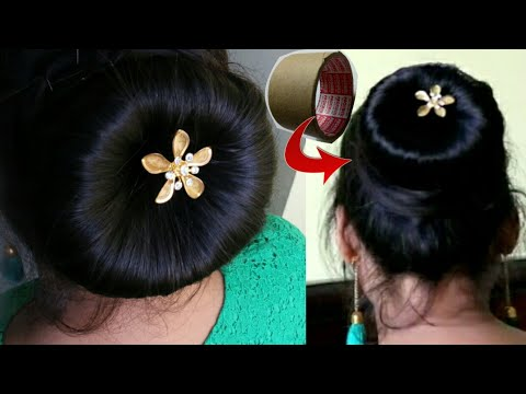 2 -Minute Bun Hairstyle/Making juda using waste cello tape roll/Juda kaise banaye/Hairstyle in Hindi