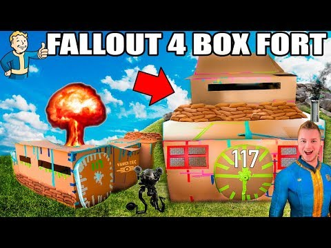 TWO STORY FALLOUT 4 BOX FORT VAULT!!  24 Hour Challenge: NERF, Electricity & More!
