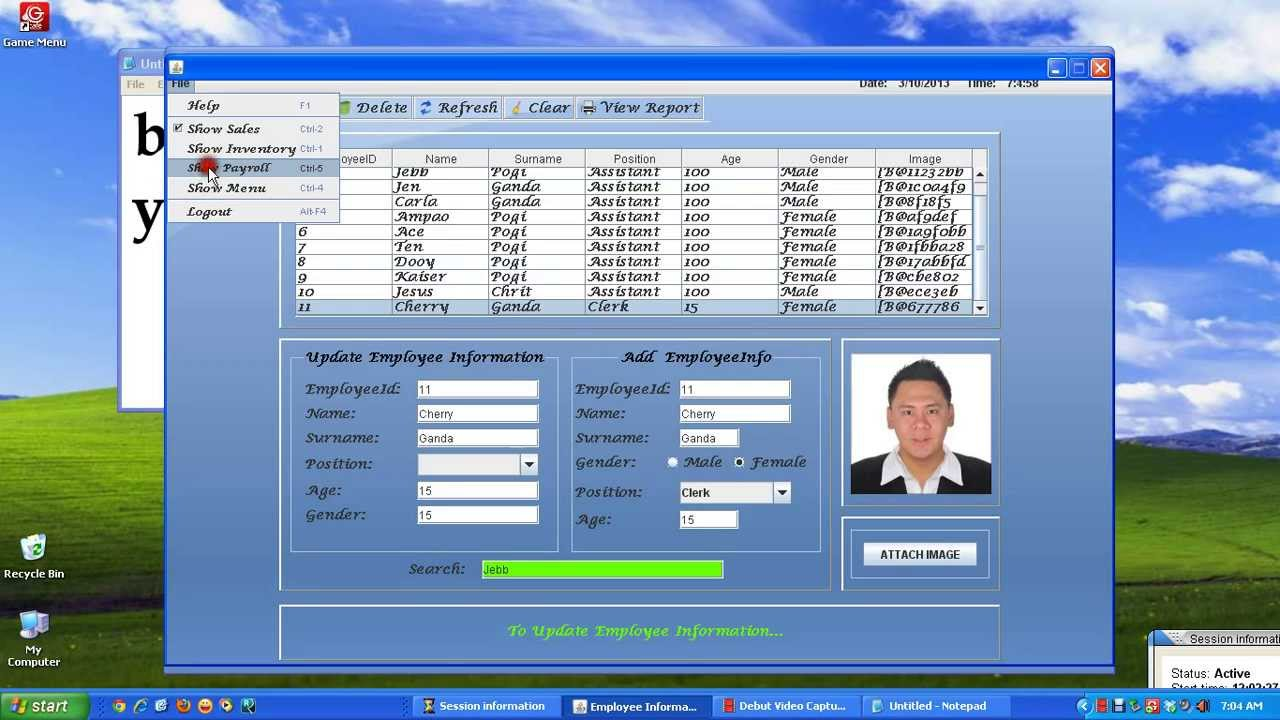 Java Customized System Employeeinfo Inventory And Sale