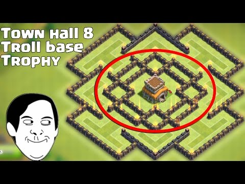 Base Clash Of Clans Town Hall 8 Troll Base Best Trophy Defense