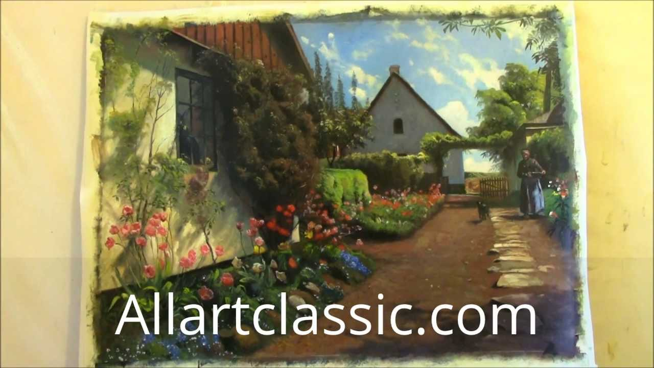 Art Reproduction Landscape Painting Flowers Garden By