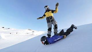 THE HUMAN SNOWBOARD!