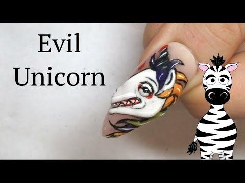 3d Evil Unicorn Acrylic Nail Art Tutorial