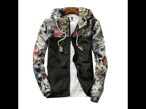 Мужчины Ветровка 2019 Весна Осень Цветочные Печатных Мода Куртки