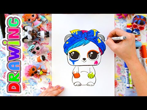 How to Draw LOL Surprise Splatters Pet. Eau De Splatters. Fuzzy Pets. Hairgoals.