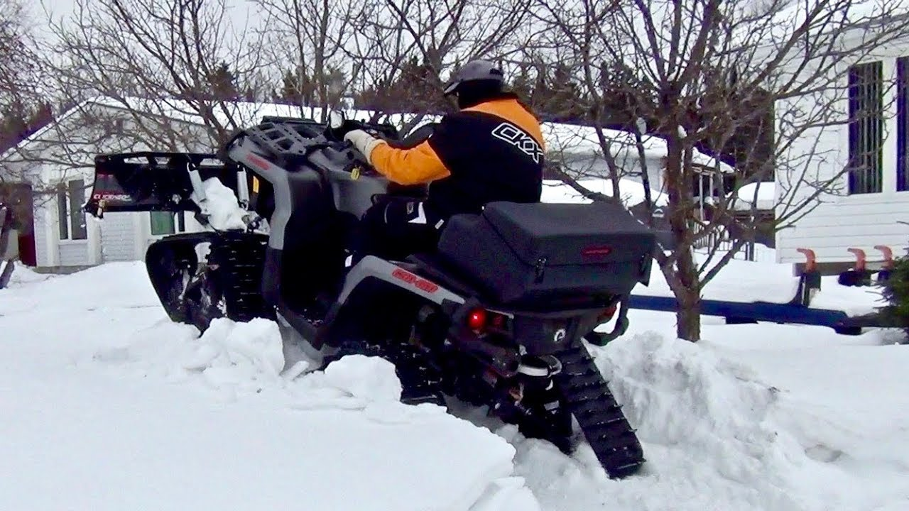 Can Am Outlander 2018 >> Kimpex Click n Go 2 Snow Plow Is On - Can-Am Outlander XT 1000 - YouTube