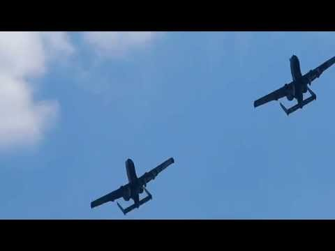 A10 Warthogs over the river Danube