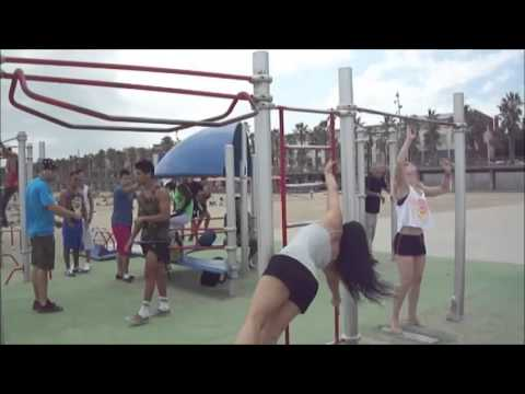 Barcelona Pole Retreat 2013: Beach Gym Fun with the Muscle Men
