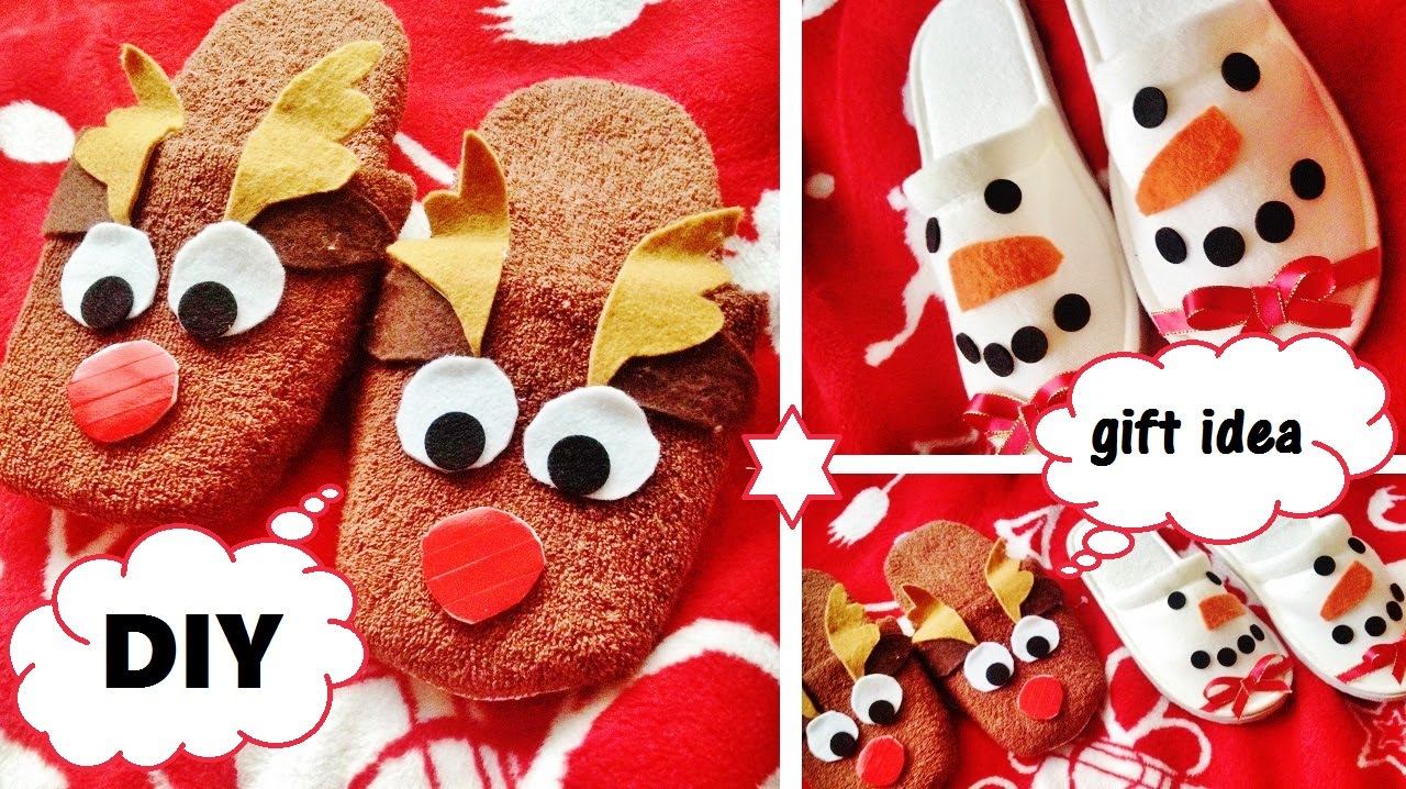 Diy christmas gift idea xmas slippers cute and easy youtube solutioingenieria Image collections