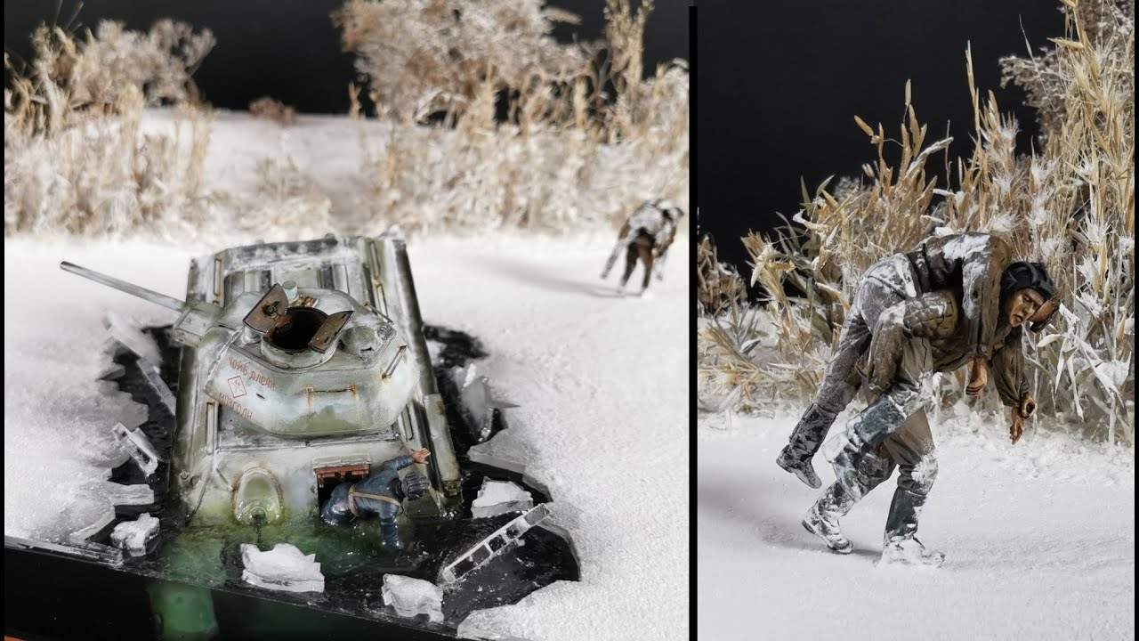Eiseinbruch T-34 Panzer Winter Diorama scale 1:35 / Ice break-in T-34 Tank Diorama scale 1:35