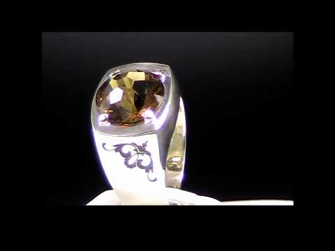 #citrine whiskey mens silver ring