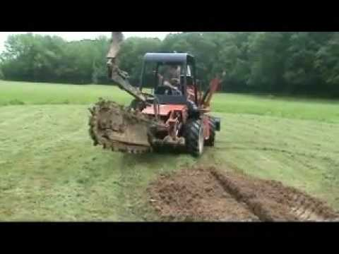 Geothermal Horizontal Loop Installation With A Chain Trencher