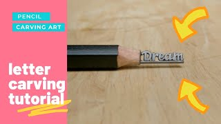 pencil lead carving art | carving text dream on lead