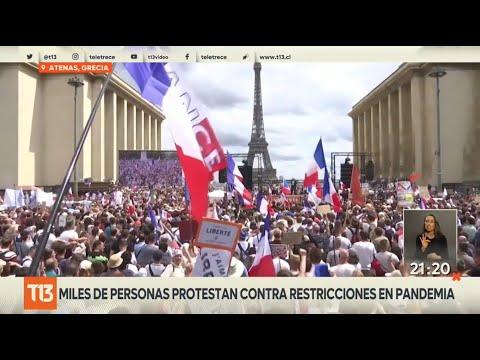 Miles de italianos y franceses protestan contra las restricciones en pandemia