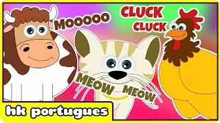 Sons dos Animais | Animal Sounds em Portugues | Musica Infantil por HooplaKidz Portugues