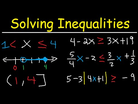 Solving Inequalities Interval Notation, Number Line, Absolute Value,  Fractions & Variables - Algebra