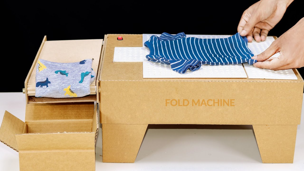 DIY T-Shirt Folding Machine With Conveyor Bel From Cardboard