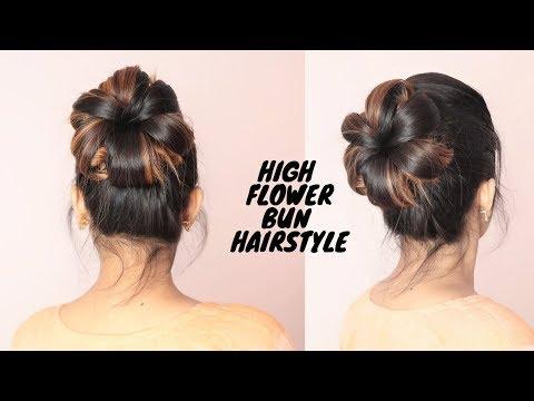 Easy High Flower Bun hairstyle For Medium To Long Hair/self hairtsyle thumbnail