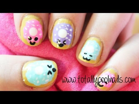 kawaii doughnut nail art tutorial