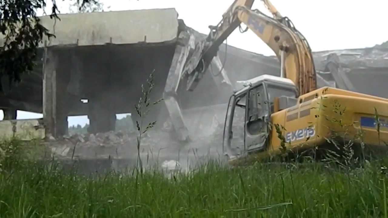 Demolition Concrete Poles : Building demolition concrete structure pole youtube
