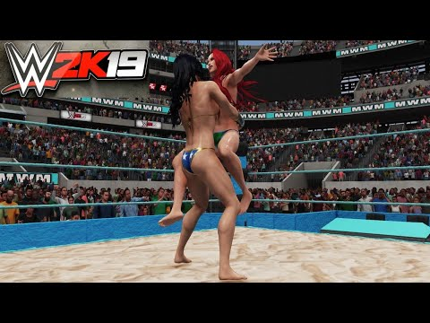 wonder-woman-v-mera!---wwe-2k19-requested-bearhug-submission-beach-party-match