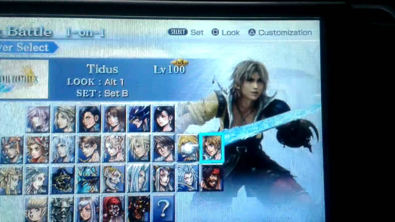 Dissidia 012 Mods Character Select Screen Port YouTube